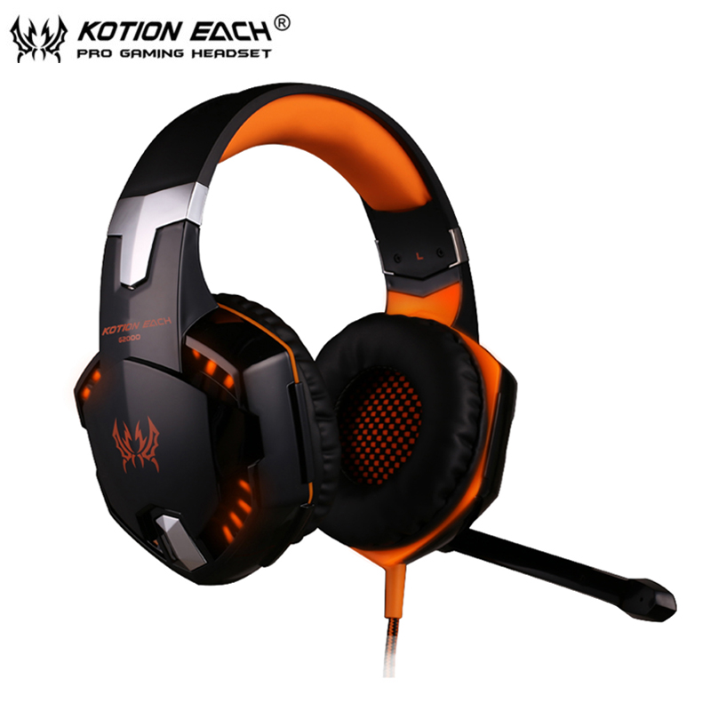 KOTION EACH G2000 Gaming Headphone Stereo Over-Ear Game Headset Headband Earphone with Mic/LED Light for Computer PC Gamer<br><br>Aliexpress
