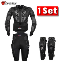 Herobiker Motorcycle Jacket Body Armor Protective Gears + Shorts Pants Hip Protector + Protective Motocross Knee Pad Kits Suits(China)