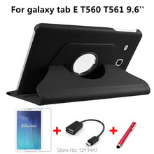 360 Degree Rotating Case for Samsung Galaxy Tab E T561 /T560 Tablet Case 9.6 inch Stand Protective Tablet Cover for T561+Film