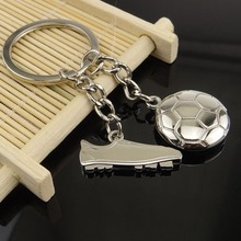 Novelty Trinket Charm Football Shoes Keychain Metal Football Key Holder Soccer Ball Key Chains WL170112008(China)