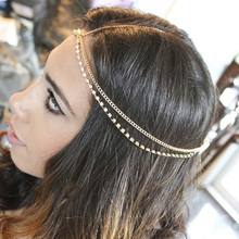 Rhinestone Head Chain Jewelry For Women Bohemian Gold color Headpiece Greece Silver Plated Headchain Hairwear Bridal Hair Shell