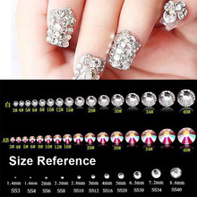 ELESSICAL Mix Crystal Transparent Shiny Designs Top quality Non hotfix Flatback Glass Nail Rhinestones 3D Nail Art Decorations(China)