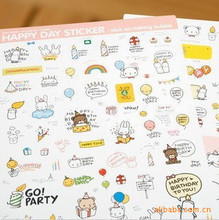 2 sheets/set Kawaii PONYBROWN Korean Cute Bear Diary Stickers For Mobile Phone Notebook Stationery Decoration Sticker