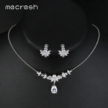 Mecresh Luxury Cubic Zirconia Bridal Jewelry Sets Teardrop Party Wedding Necklace Sets Engagement Jewelry Christmas Gift MTL481(China)