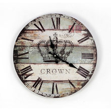 England style solid wood painting crown wall clock fashion home decoration wall living room bedroom wall clock(China)