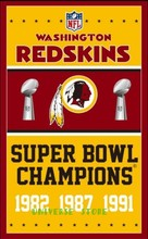 Free shipping 3x5FT Washington Redskins football team flag, NFL Vince Lombardi Trophy Championship banner digital printing 100D