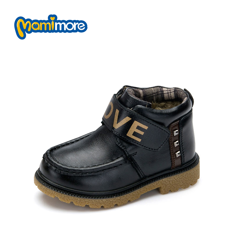 Warm PU Boots For Boys Fashion 2017 New Winter Children Shoes With Rivet Plush Toddler Boots Flat with Hook &amp; Loop Shoes 3Colors<br><br>Aliexpress