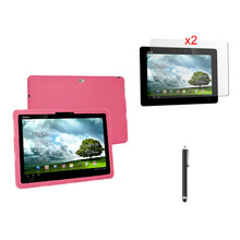 Fashion Ultra Slim Soft Silicone Skin Pouch Bag Cover Case + 2 * Clear Films + Stylus For Asus Eee Pad Transformer Prime TF201