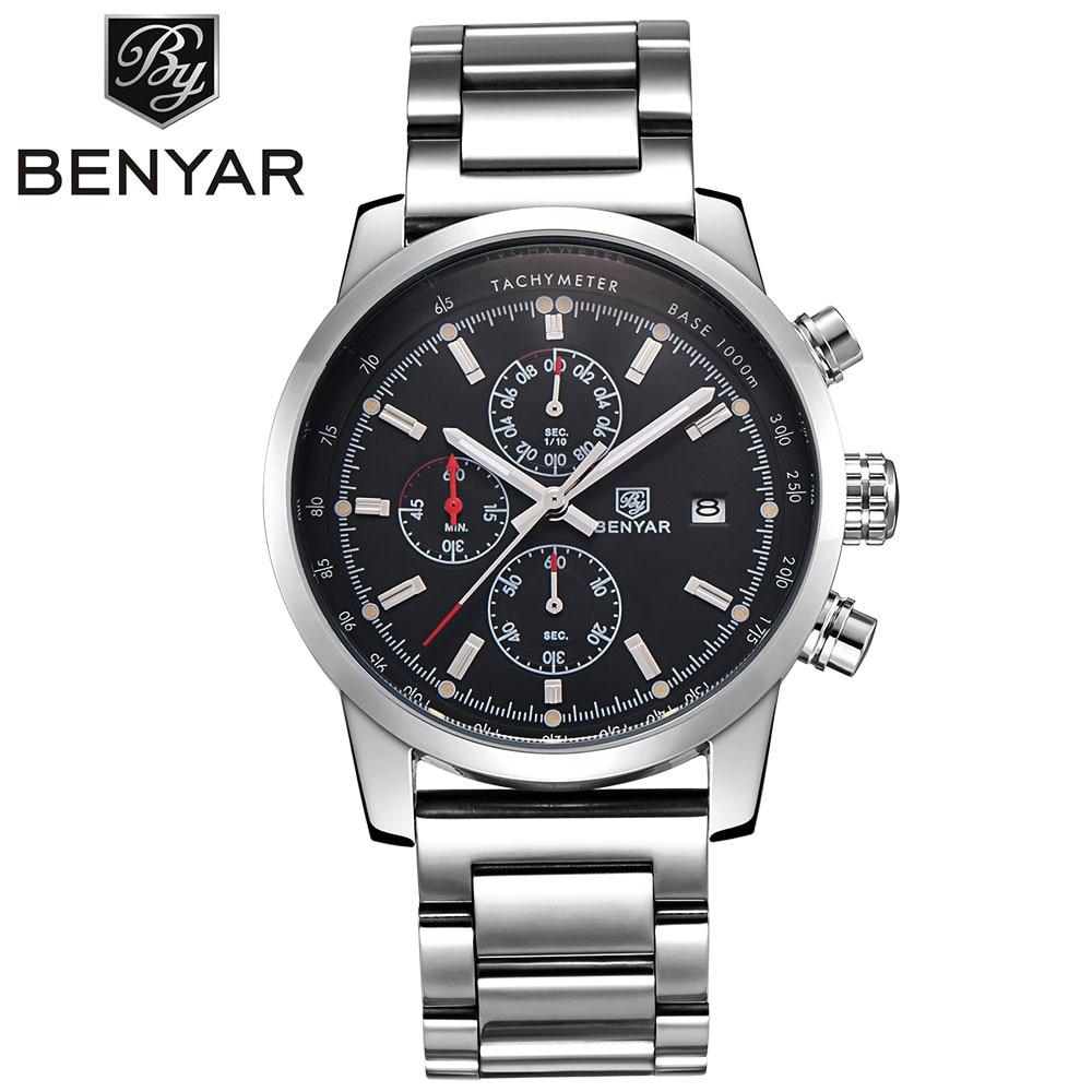 BENYAR Luxury Watches Men High Quality Chronograph Quartz Watch Waterproof Calender Sport Mans Wristwatch Outdoor Full Steel <br>