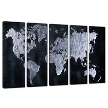 Group World Map Canvas Fine Art,abstract Map Wall Art for Office and Restaurant Decor,modern Stretched and Frame Canvas Artwork