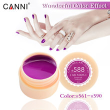 CANNI 5ML 141 Pure Colors UV Gel Manicure DIY Nail Art Tips Gel Polish Lacquer Design 50618 Varnish Color Nail Painting Gel(China)
