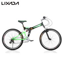 "Lixada 26"" Folding Carbon Steel Bike 7-speed Portable Bicycle Fold Storage Carbon Steel Blue / Green Folding Front Rear V-brakes"