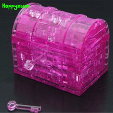 Happyxuan  DIY 3D Jigsaw Crystal Puzzle Plastic Treasure box  Educational Toys For Children
