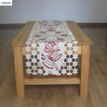 vezon New For Christmas Polyester Embroidery Satin Table Runner Xmas Cutwork Star Table Towel Bell Flag Cloth Overlays