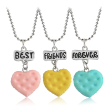 3 pcs/set Heart Shaped Biscuits Cookies Pendant Necklaces Letters Best Friends Forever Necklace Gift For Kids Girl BFF Jewelry