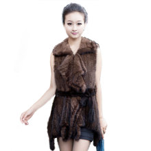 GTC97 NEW STYLE WINTER FASHION FOLD COLLAR SLEEVELESS GENUINE MINK FUR COAT JACKETS FEMALE LADIES REAL KNIT FUR OVERCOAT OUTWEAR