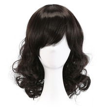 Charm Woman Curly Black Hair Synthetic Wig Medium Length Wigs(NBW0WG60111-BL2)