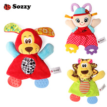 Sozzy Super Soft Crinkle Rattle Towel Handkerchief Infant Baby Toys for Children Textured Teether Comfort and Activity Gift(China)