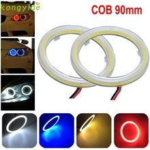 High Quality  2pcs White 90MM COB LED Angel Eyes Headlight Halo Ring Warning Lamps with Cover
