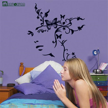 Romantic Black Butterfly Flower Vine Rattan Room Bedroom Room Decoration TV Background Wall Stickers Wall Stickers Strong Paste(China)