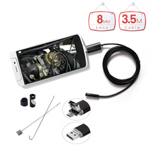 2 in 1 Endoscope Android PC USB 8MM 6 LED Waterproof Endoscopy Inspection Borescope Mini Surveillance Camera with Soft Cable