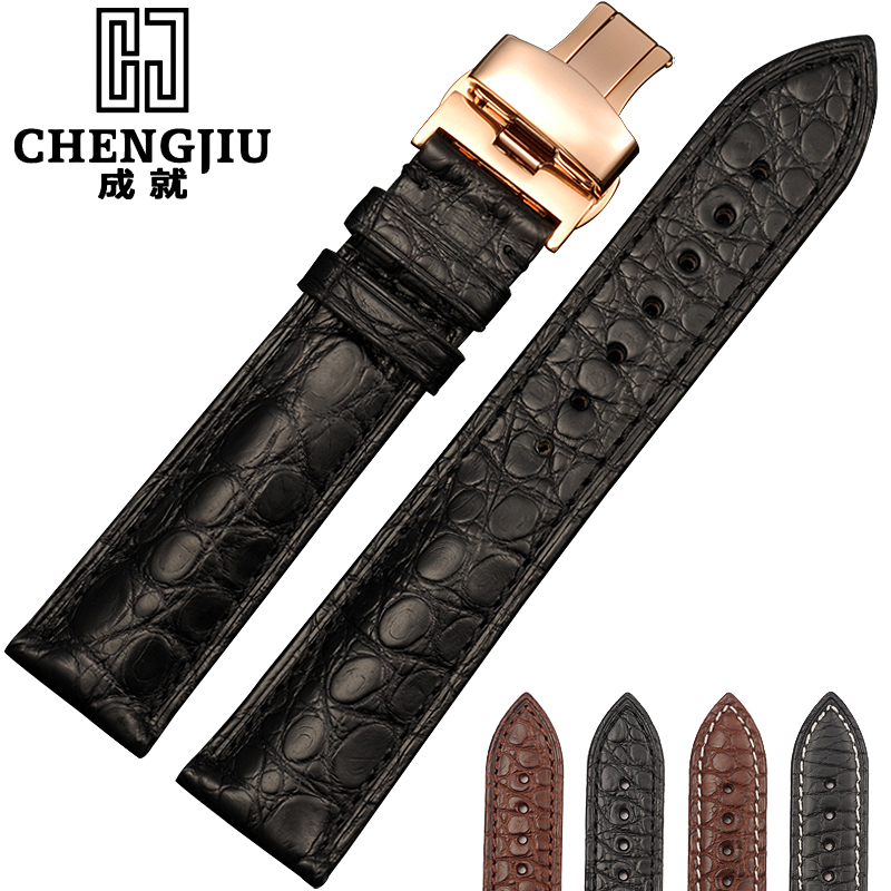 Watch Strap For Longines Watches Band Alligator Leather Watchband Crocodile Straps Gold Silver Bracelet 16 18 19 20 22 24 mm Re<br>