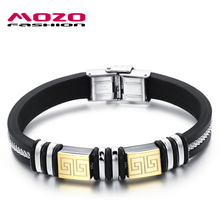 MOZO FASHION Hot Brand Men Jewelry Black Silicone Rubber Wristband Bracelet Golden Stainless Steel Great Wall Bracelets MPH932