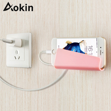 AOKIN Universal Wall Phone Holder for iPad Tablet Stand Mount Holder Wall-mounted Mobile Phone Holder Stands Charging Bracket(China)