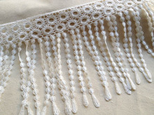 WHITE Fringe Venise Lace Trim with Circle design for Wedding, Skirts, Bellydance Costumes, Altered Couture(China)