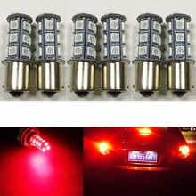 6PCS 1156 BA15S Base Brake LED Bulb Red 5050 18SMD LED Replacement Bulb RV SUV MPV Car Turn Tail Signal Brake Light Backup Lamps