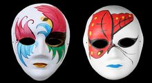 White Half Face Mask Halloween blank paper ball Hand painted mask DIY pulp Hip-Hop Hand-painted street dancing Christmas mixs