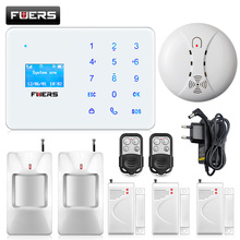 Intelligent APP Control Wireless  GSM SMS Home Burglar Security Alarm System LCD screen touch keyboard with Smoke Detector
