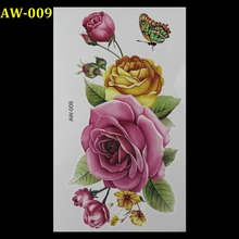 AW-009 3d tattoo Flash tattoos women arm temporary tattoo Yellow pink rose butterfly  body art sticker sex products tatto tatoo
