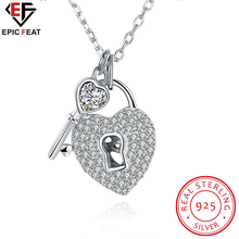 Necklace Silver 925 for Women Sterling Silver Key and Heart Lock Pendants Choker Sparkling Crystal Wedding Jewelry SVN056