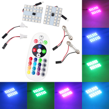 2PCS RGB 5050 12 15 24 36SMD LED Panel Dome Light Auto Remote Controlled Colorful Led Lamp DC 12V With T10 Festoon Adapters(China)