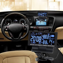 Multifunctional LCD Digital Clock Car Voltmeter Thermometer Hygrometer Weather Forecast Car Clocks