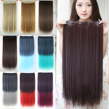 60cm Long Straight Women Ombre Hair Extension High Tempreture Synthetic Hair Extensions Hairpiece