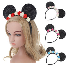 4Pc Children Kids Hair Accessories Mouse Ears Headbands Birthday Party Decoration Boys Girls DIY Flower Headband(China)