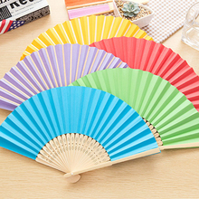 1pcs New Summer Chinese Hand One Side Paper Fans Pocket Folding Bamboo Fan Wedding Party Favor Decoration(China)