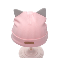 Cat Baby Hat For Newborn Solid Cotton Soft Tire Beanie With Ear Spring Autumn Warm Newborn Baby Hat Baby Girls Clothing