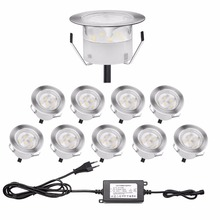QACA Stainess Steel IP67 LED Underground Lighting 1W Low Voltage Outdoor Deck Lights Inground LED Lamps Kits B109-10(China)