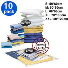 Vacuum Bag, 10 pc, Vacuum Storage Bag, Space saving bag for clothing and bedding,50*60,60x80,80*120cm, S,M,L(China)