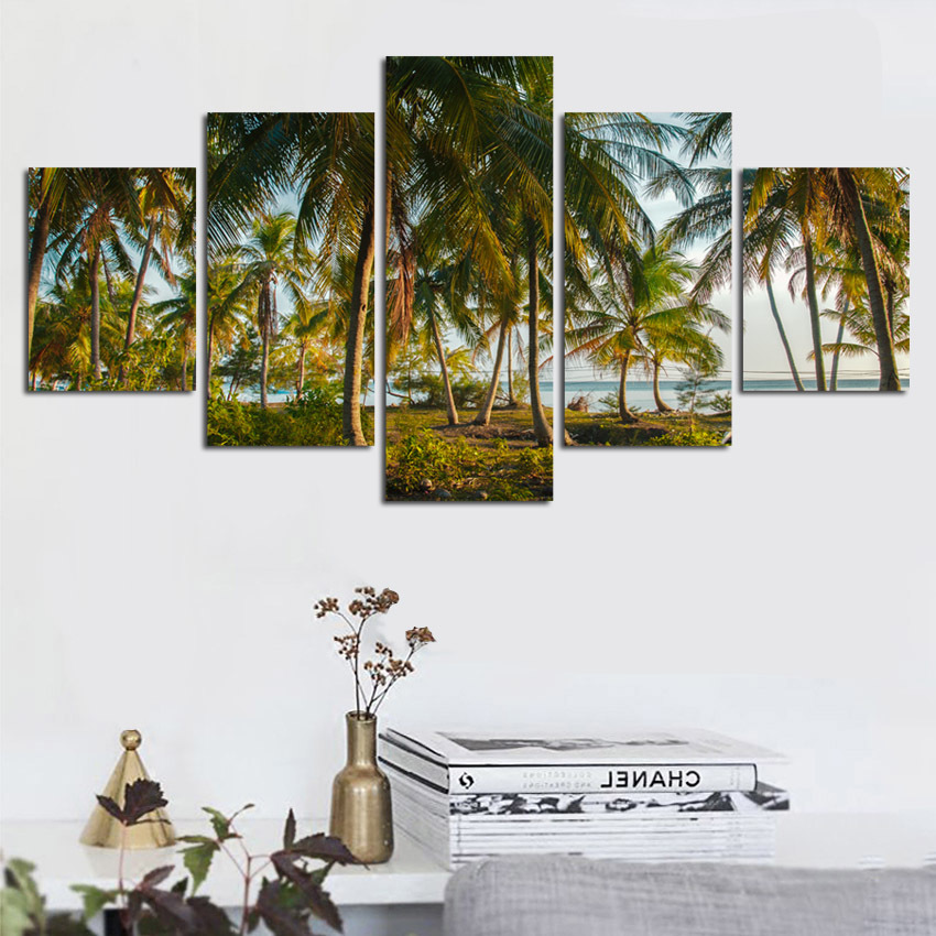 Home-Decor-Canvas-HD-Prints-Poster-Living-Room-Unframe-5-Pieces-Beach-Coconut-Tree-Seascape-Paintings