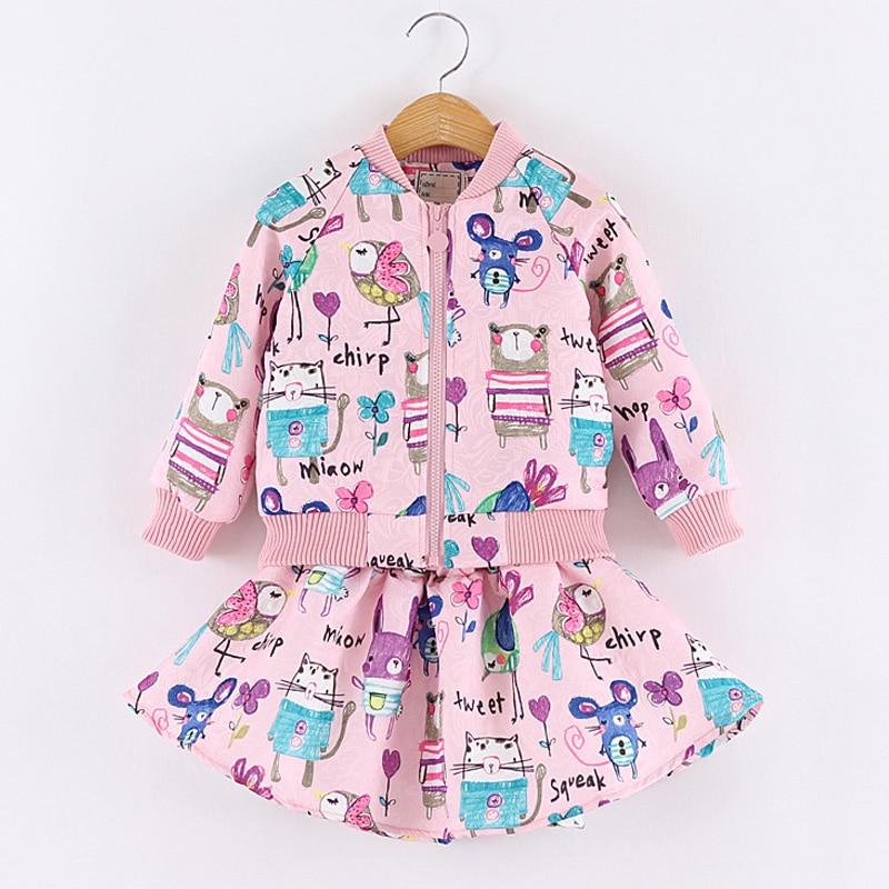 2017 New Fashion girls clothing set coat + skirt for Girls Cartoon Children autumn Clothing set<br><br>Aliexpress