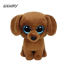 GXHMY Original Ty Beanie Boos Big Eyes Plush Toy Doll Brown Dog