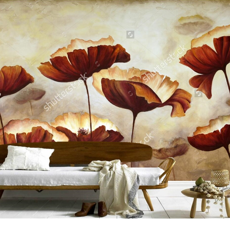 Custom retro wallpaper,Painting poppies with texture,photo mural for living room bedroom restaurant background wall wallpaper<br>