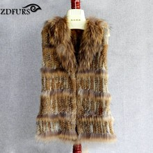 ZDFURS *New! hot sale women knitted rabbit fur with raccoon dog fur collar fur vest natural brown color ZDKR-165035