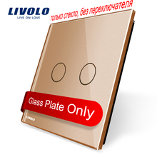 Livolo Luxury Golden Pearl Crystal Glass, 80mm*80mm, EU standard, Single Glass Panel For 2 Gang  Wall Touch Switch,VL-C7-C2-13