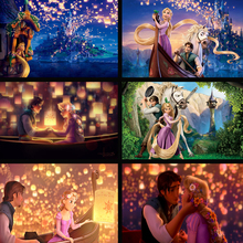 Thomas Kinkade Tangled Long Hair Princess Modern Wall Large Painting Decoration Home Modern Art Picture Print Painting On Canvas