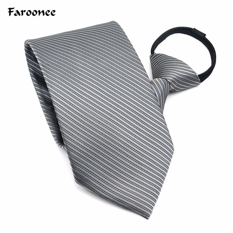 Faroonee Men's Zipper Tie Commercial Formal Suit Lazy Neck Ring Necktie Neck Tie Striped Male Wedding Narrow cravate Gifts S4837(China)